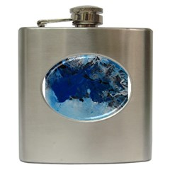 Blue Abstract No 5 Hip Flask (6 Oz) by timelessartoncanvas