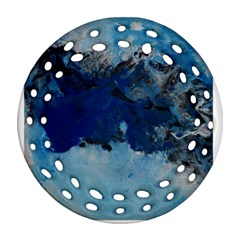 Blue Abstract No 5 Ornament (round Filigree)  by timelessartoncanvas