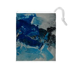 Blue Abstract No  6 Drawstring Pouches (large)