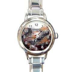Natural Abstract Landscape Round Italian Charm Watches by timelessartoncanvas