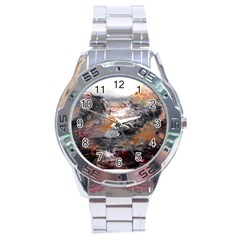 Natural Abstract Landscape Stainless Steel Men s Watch by timelessartoncanvas