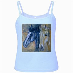 2 Horses Baby Blue Spaghetti Tanks by timelessartoncanvas