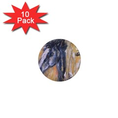 2 Horses 1  Mini Magnet (10 Pack)  by timelessartoncanvas