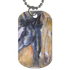 2 Horses Dog Tag (two Sides) by timelessartoncanvas