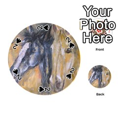 2 Horses Playing Cards 54 (round)  by timelessartoncanvas