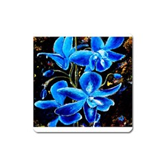 Bright Blue Abstract Flowers Square Magnet