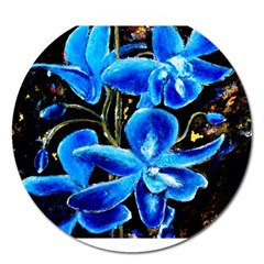 Bright Blue Abstract Flowers Magnet 5  (round) by timelessartoncanvas