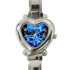 Bright Blue Abstract Flowers Heart Italian Charm Watch by timelessartoncanvas