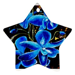 Bright Blue Abstract Flowers Star Ornament (two Sides)  by timelessartoncanvas