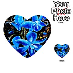 Bright Blue Abstract Flowers Playing Cards 54 (heart)