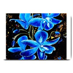 Bright Blue Abstract Flowers Large Doormat  by timelessartoncanvas