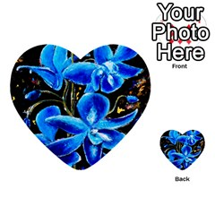 Bright Blue Abstract Flowers Multi Purpose Cards (heart)