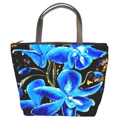 Bright Blue Abstract Flowers Bucket Bags by timelessartoncanvas