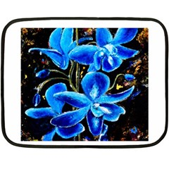 Bright Blue Abstract Flowers Double Sided Fleece Blanket (mini)  by timelessartoncanvas