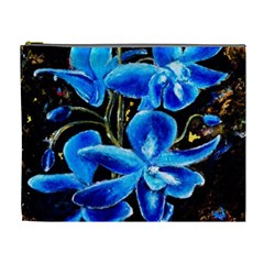Bright Blue Abstract Flowers Cosmetic Bag (xl)