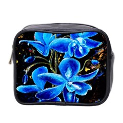 Bright Blue Abstract Flowers Mini Toiletries Bag 2 Side by timelessartoncanvas