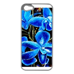 Bright Blue Abstract Flowers Apple Iphone 5 Case (silver) by timelessartoncanvas