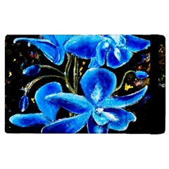 Bright Blue Abstract Flowers Apple Ipad 3/4 Flip Case by timelessartoncanvas