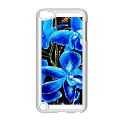 Bright Blue Abstract Flowers Apple Ipod Touch 5 Case (white) by timelessartoncanvas