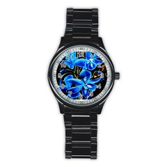 Bright Blue Abstract Flowers Stainless Steel Round Watches