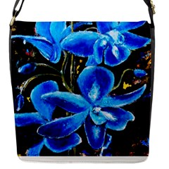 Bright Blue Abstract Flowers Flap Messenger Bag (s) by timelessartoncanvas