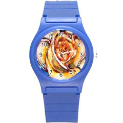 Abstract Rose Round Plastic Sport Watch (s) by timelessartoncanvas