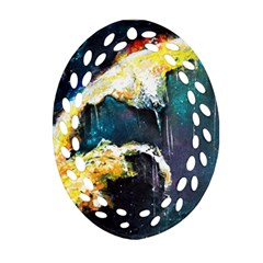 Abstract Space Nebula Oval Filigree Ornament (2-Side)  by timelessartoncanvas