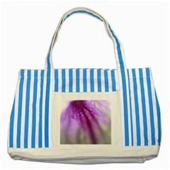 Purple Flower Pedal Striped Blue Tote Bag  by timelessartoncanvas