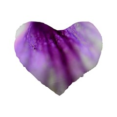 Purple Flower Pedal Standard 16  Premium Flano Heart Shape Cushions by timelessartoncanvas