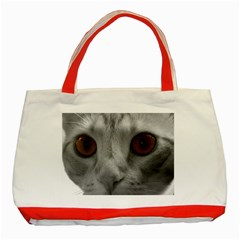 Funny Cat Classic Tote Bag (red)  by timelessartoncanvas