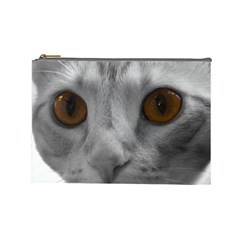 Funny Cat Cosmetic Bag (large)  by timelessartoncanvas