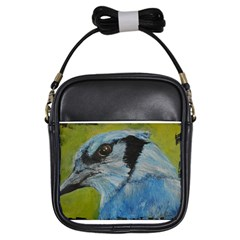 Blue Jay Girls Sling Bags by timelessartoncanvas