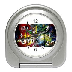 Abstract Music Painting Travel Alarm Clocks by timelessartoncanvas