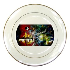 Abstract Music Painting Porcelain Plates by timelessartoncanvas