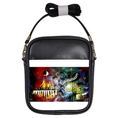 Abstract Music Painting Girls Sling Bags by timelessartoncanvas