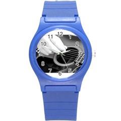 Guitar Player Round Plastic Sport Watch (s) by timelessartoncanvas