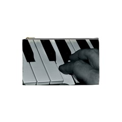 The Piano Player Cosmetic Bag (small)  by timelessartoncanvas