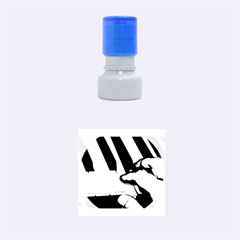 The Piano Player Rubber Round Stamps (small) by timelessartoncanvas