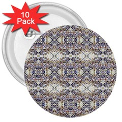 Oriental Geometric Floral Print 3  Buttons (10 Pack)  by dflcprints