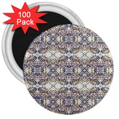 Oriental Geometric Floral Print 3  Magnets (100 Pack) by dflcprints