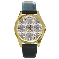 Oriental Geometric Floral Print Round Gold Metal Watches by dflcprints