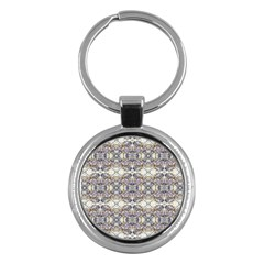 Oriental Geometric Floral Print Key Chains (round)  by dflcprints