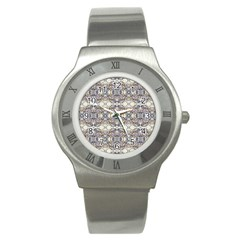 Oriental Geometric Floral Print Stainless Steel Watches by dflcprints