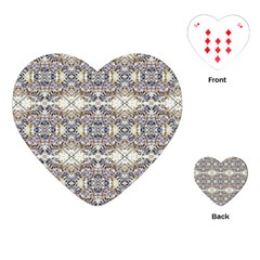 Oriental Geometric Floral Print Playing Cards (heart)  by dflcprints