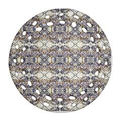 Oriental Geometric Floral Print Round Filigree Ornament (2side) by dflcprints