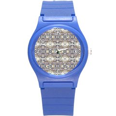 Oriental Geometric Floral Print Round Plastic Sport Watch (s) by dflcprints