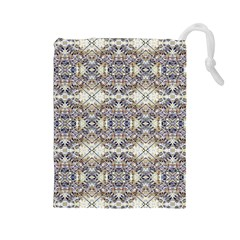 Oriental Geometric Floral Print Drawstring Pouches (large)  by dflcprints