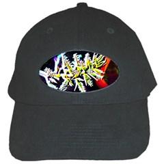 Digitally Enhanced Flower Black Cap by timelessartoncanvas