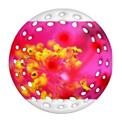 Bright Pink Hibiscus Round Filigree Ornament (2side)