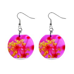 Bright Pink Hibiscus 2 Mini Button Earrings